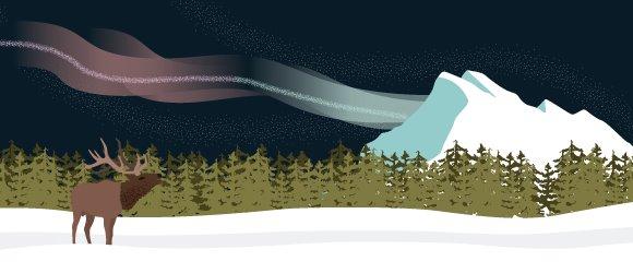 Rundle Mountain Illustration