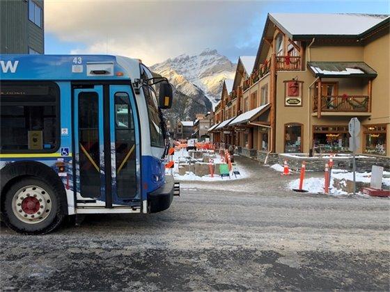 Bus on open Caribou Street