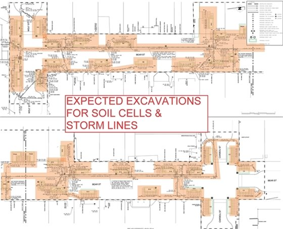 Excavation are for soil cells and collectors