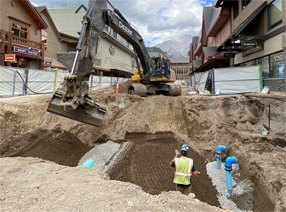Excavation to connect water lines to buildings