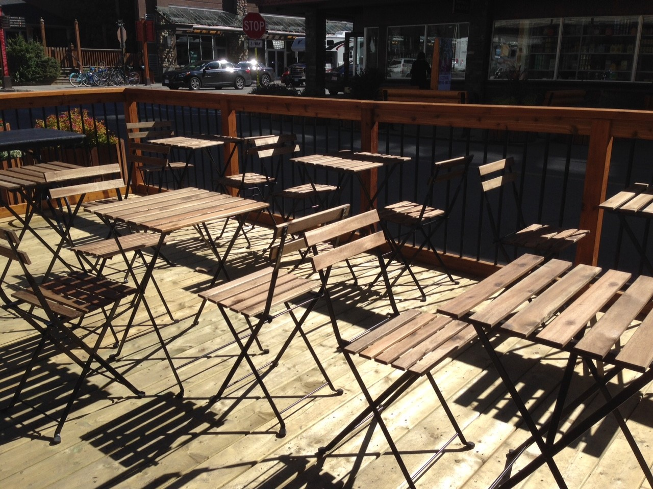 Wooden Tables and Seats in a Public Area