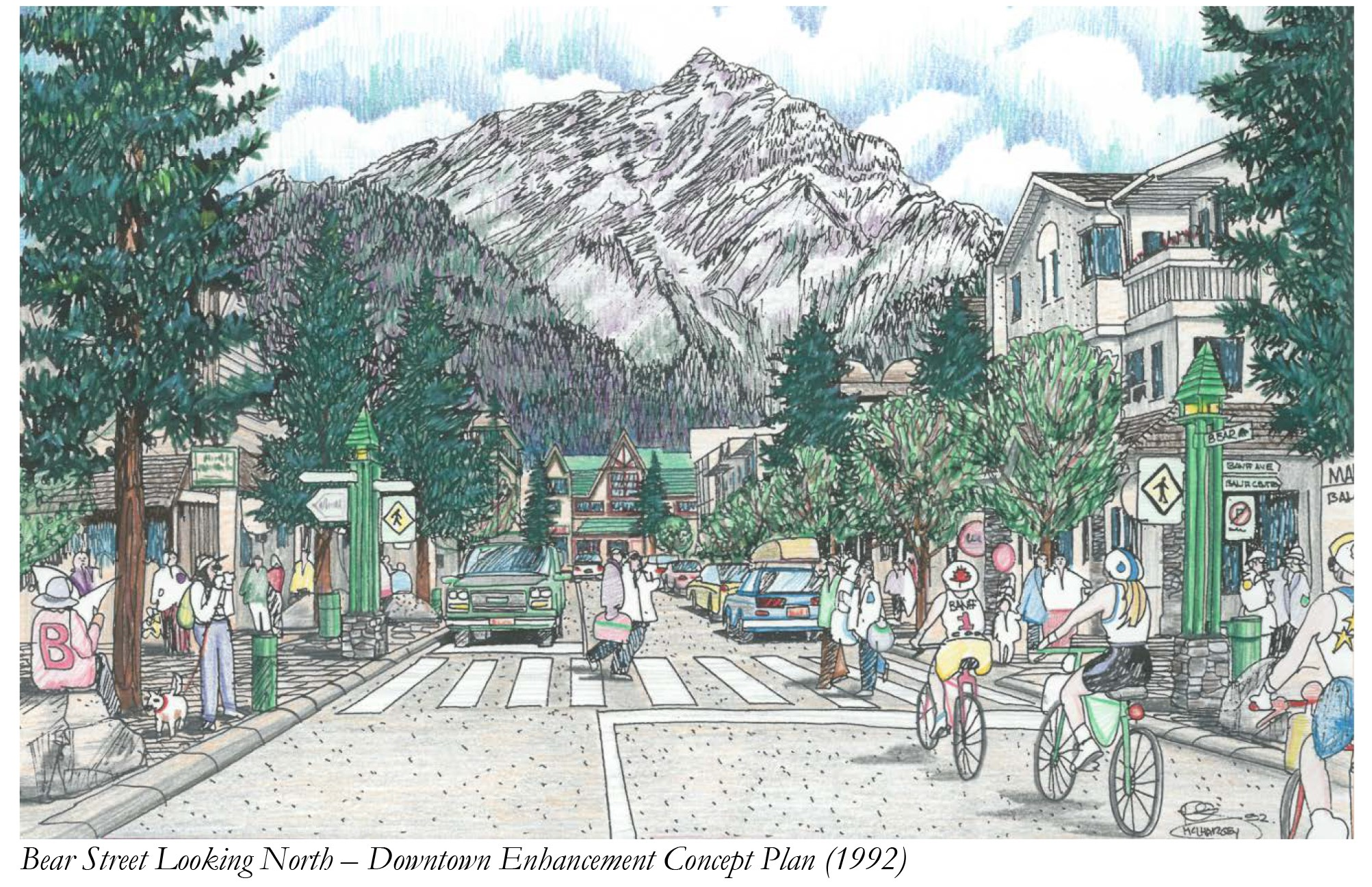 Bear Street Looking North - Downtown Enhancement Concept Plan (1992) (JPG)