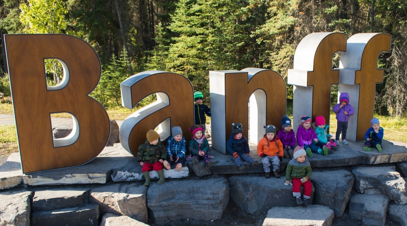 Banff Sign with Kids