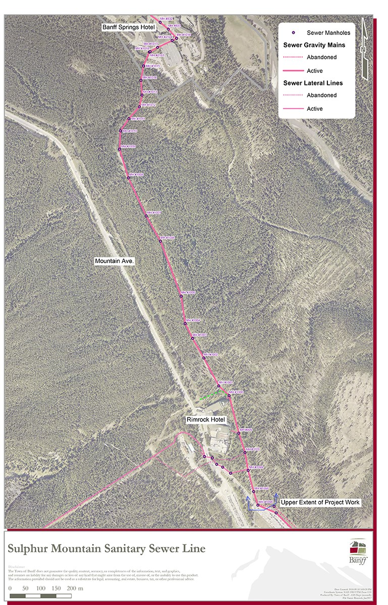 Sulphur Mountain Sewer Line Map