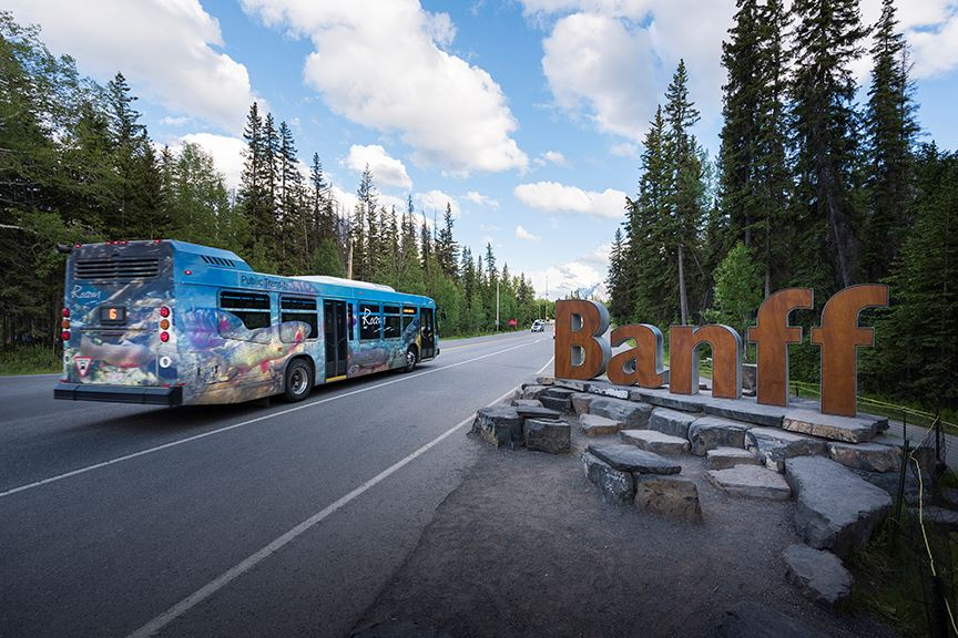 Roam Bus at Banff Sign